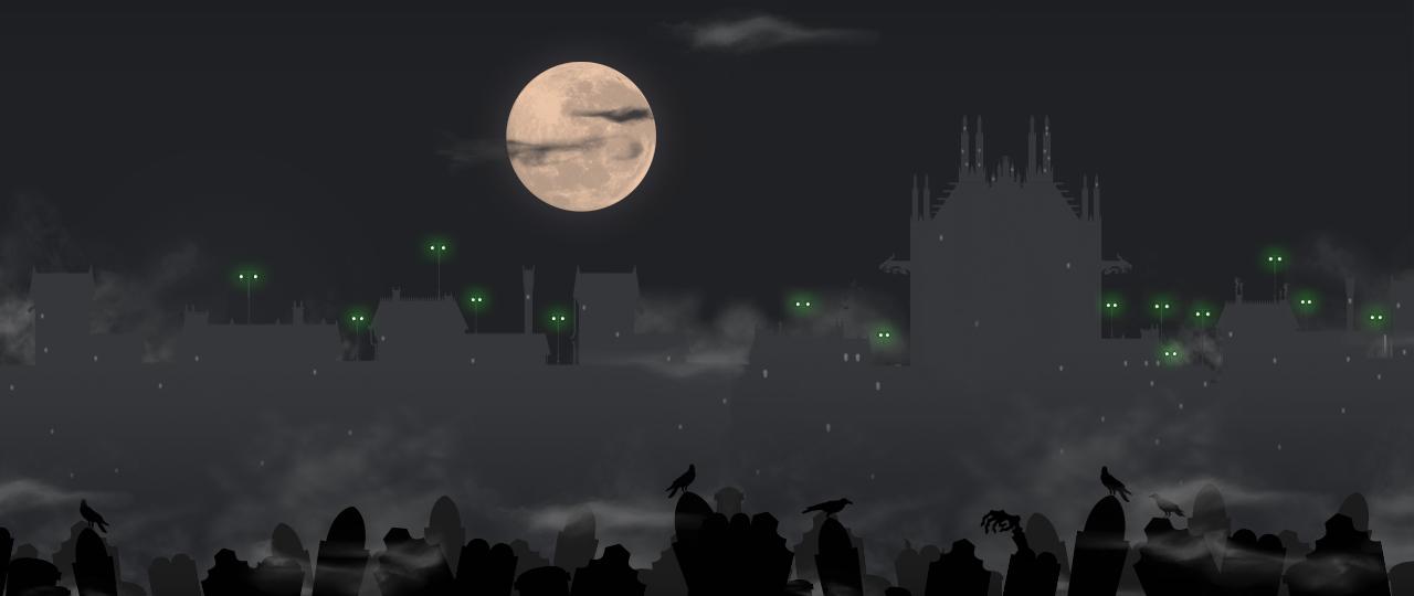 cimetière gothique de Grisaille la nuit avec pleine lune tombes et corbeaux