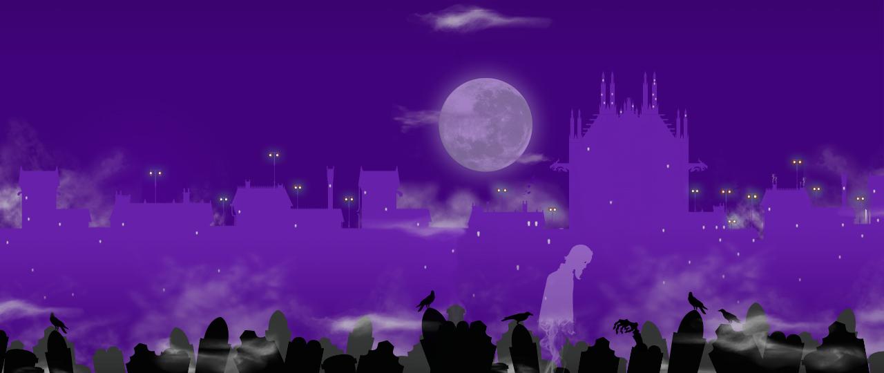 cimetière gothique de Grisaille la nuit avec pleine lune tombes et spectre